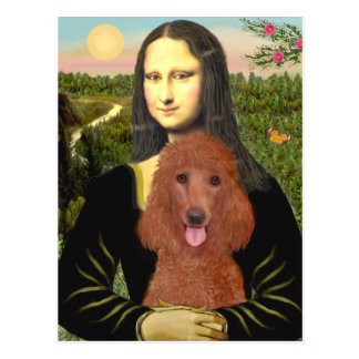 Mona Lisa - Dark Red Standard Poodle #1 Postcard