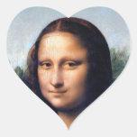 Mona Lisa de Leonardo da Vinci, 1503-1506 Calcomanía De Corazón Personalizadas