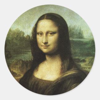 Mona Lisa de Leonardo da Vinci, arte renacentista Pegatina Redonda