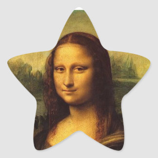 Mona Lisa de Leonardo DE Vinici Pegatina En Forma De Estrella
