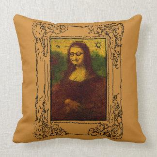 Mona Lisa Defaced (again) Throw Pillow
