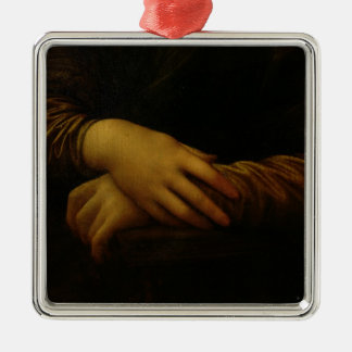 Mona Lisa, detail of her hands, c.1503-06 Square Metal Christmas Ornament
