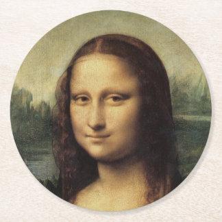 Mona Lisa detalladamente por Leonardo da Vinci Posavasos De Cartón Redondo