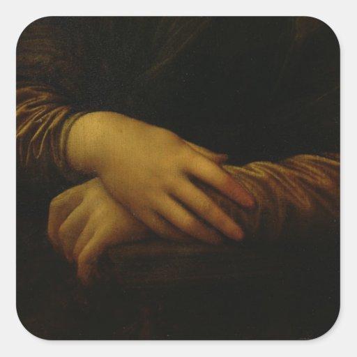 Mona Lisa, detalle de sus manos, c.1503-06 Pegatina Cuadrada