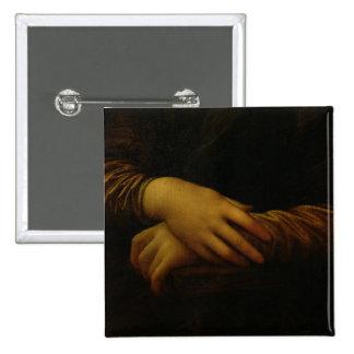 Mona Lisa, detalle de sus manos, c.1503-06 Pin Cuadrada 5 Cm