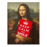 Mona Lisa dice guarda calma y sonríe Tarjeta Postal
