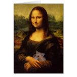 Mona Lisa divertida con el hámster dulce Tarjeta De Felicitación