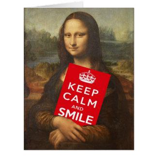 Mona Lisa divertida dice guarda calma y sonríe Tarjeta De Felicitación Grande