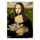 Mona Lisa - dos gatitos del Tabby Tarjeta De Felicitación