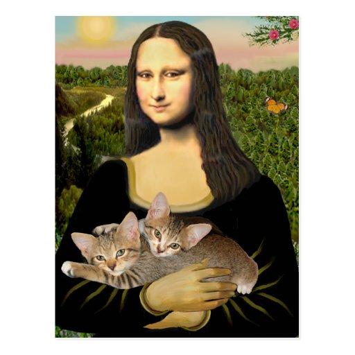 Mona Lisa - dos gatitos del Tabby Tarjeta Postal