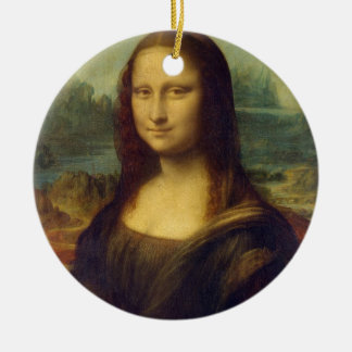 Mona Lisa Double-Sided Ceramic Round Christmas Ornament