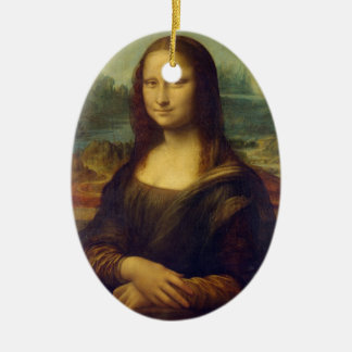 Mona Lisa Double-Sided Oval Ceramic Christmas Ornament