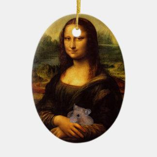 Mona Lisa dulce ama hámsteres Adorno Navideño Ovalado De Cerámica
