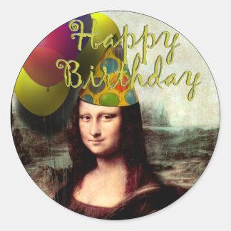 Mona Lisa - el chica del cumpleaños Pegatina Redonda