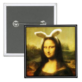 Mona Lisa el conejito de pascua Pin Cuadrado