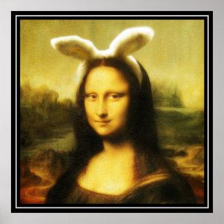 Mona Lisa el conejito de pascua Póster