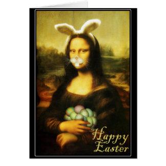 Mona Lisa, el conejito de pascua Tarjeta De Felicitación