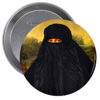 Mona Lisa en Burqa Chapa Redonda 10 Cm