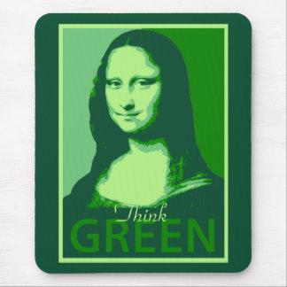 Mona Lisa es verde Alfombrillas De Ratón