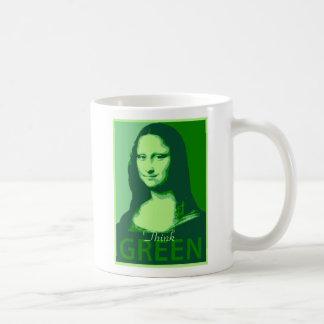 Mona Lisa es verde Taza Básica Blanca