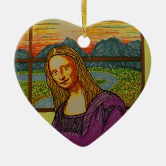 Mona Lisa expectante Adorno De Cerámica En Forma De Corazón