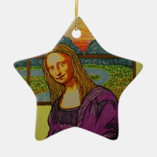 Mona Lisa expectante Adorno De Cerámica En Forma De Estrella