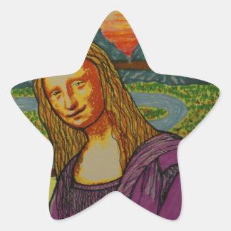 Mona Lisa expectante Pegatina En Forma De Estrella