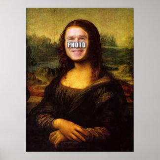 Mona Lisa Face Hole Poster