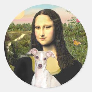 Mona Lisa - galgo italiano 5 Pegatina Redonda