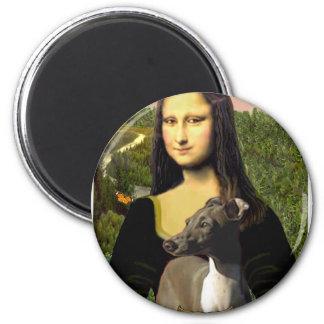 Mona Lisa - galgo italiano Imán Redondo 5 Cm