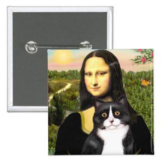 Mona Lisa - gato blanco y negro Pin Cuadrada 5 Cm