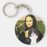 Mona Lisa - gato blanco y negro SH de la Llavero Redondo Tipo Pin