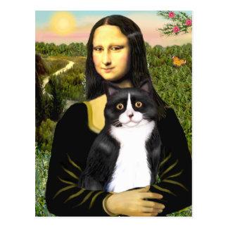 Mona Lisa - gato blanco y negro SH de la Tarjeta Postal