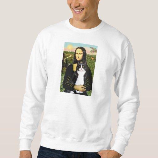 Mona Lisa - gato blanco y negro Sudadera Con Capucha