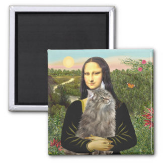 Mona Lisa - gato del bosque de Norweigan Imán Cuadrado