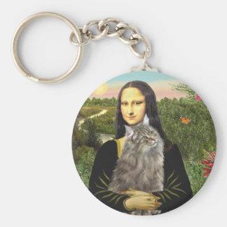 Mona Lisa - gato del bosque de Norweigan Llavero Redondo Tipo Pin