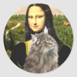 Mona Lisa - gato del bosque de Norweigan Pegatinas Redondas