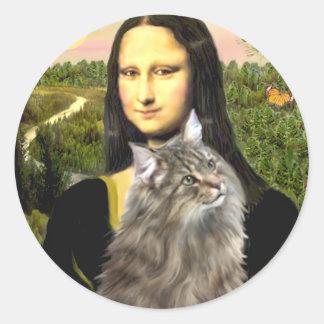 Mona Lisa - gato del bosque de Norweigan Pegatina Redonda