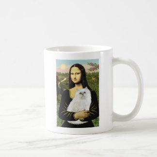 Mona Lisa - gato persa blanco 13 Taza De Café