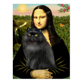 Mona Lisa - gato persa (negro) Postal