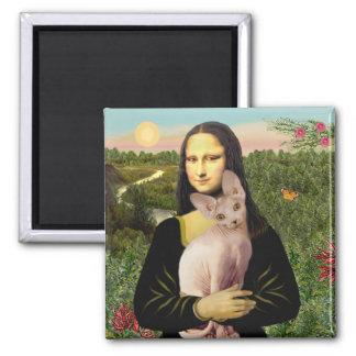 Mona Lisa - gato poner crema de Sphynx Imán Cuadrado