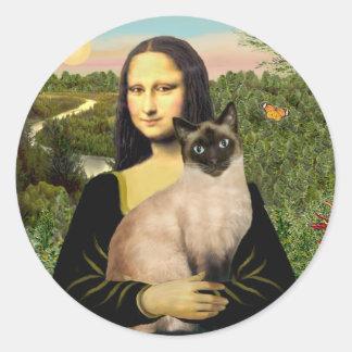 Mona Lisa - gato siamés del punto del sello Pegatina Redonda