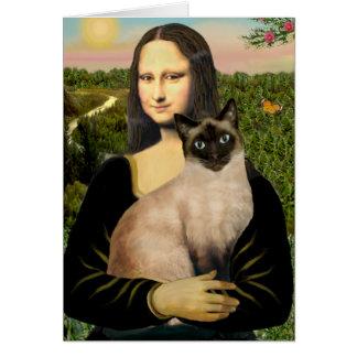 Mona Lisa - gato siamés del punto del sello Tarjeta De Felicitación