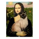 Mona Lisa - gato siamés del punto del sello Tarjetas Postales