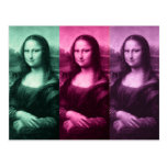 Mona Lisa Green Pink Purple Postcard