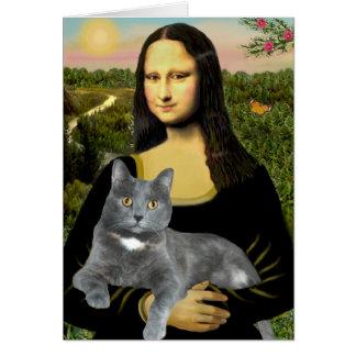 Mona Lisa - Grey cat Cards