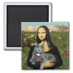 Mona Lisa - Grey cat Magnets