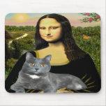 Mona Lisa - Grey cat Mouse Pads