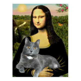 Mona Lisa - Grey cat Postcard