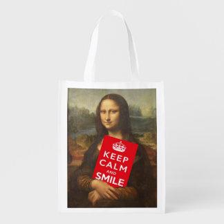 Mona Lisa guarda calma y sonríe Bolsas Para La Compra